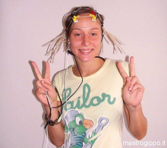 Francesca wearing electrodes